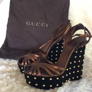 Women's Gucci studded platform wedges